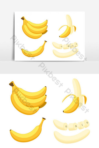 Vector illustration of set fresh banana isolated on white background PNG Images Template EPS
