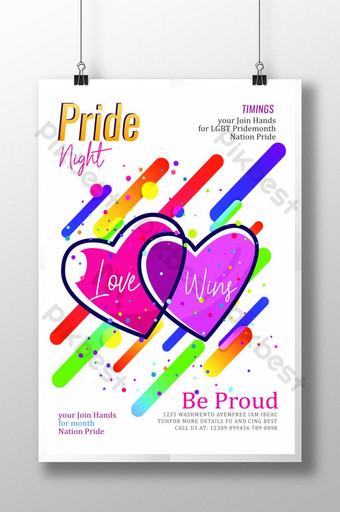 التدرج نمط قوالب ملصق مثلي الجنس قالب PSD