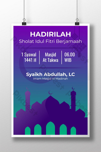 Templat Undangan Poster Idul Fitri Sholat dalam Gaya Modern Templat PSD