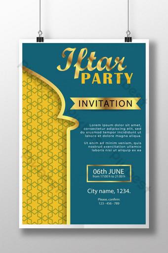 template poster pesta buka puasa dengan teks emas Templat AI