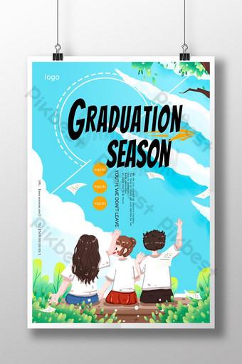 Fresh cartoon landscape graduation season poster Template PSD
