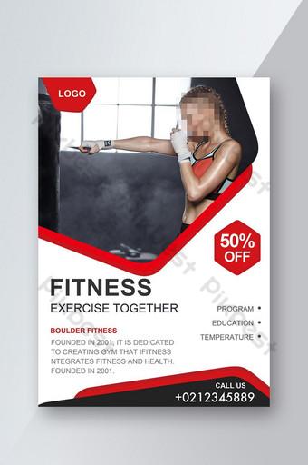 Dépliant de fitness sportif plat simple Modèle PSD