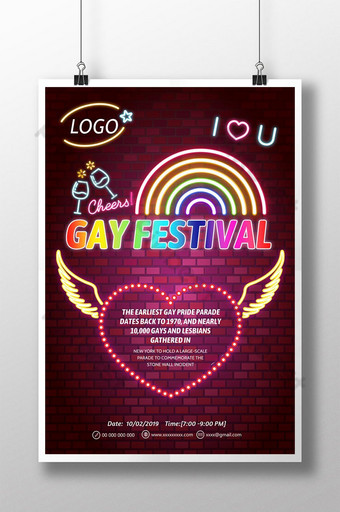 ملصقات النيون الملونة لأيام المثليين قالب PSD