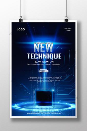 poster abstrak fiksi ilmiah teknologi biru Templat PSD