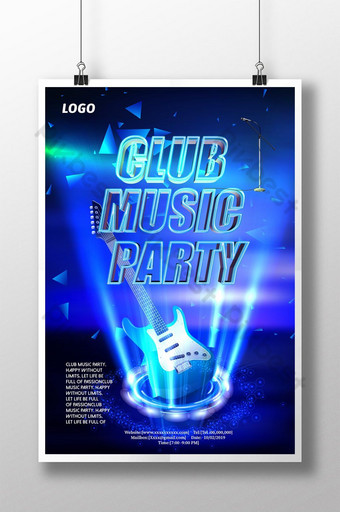 Affiche du festival de musique de rêve à effet de lumière bleue Modèle PSD