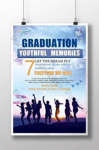 cartel de la temporada de graduación de silueta oscura Modelo PSD