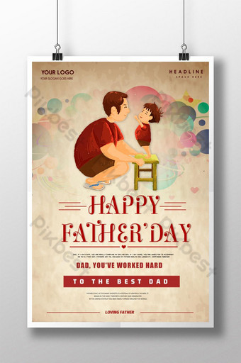 Retro Fathers Day Poster Design Template PSD
