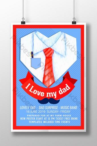 أنا أحب قالب ملصق عيد والدي والدي قالب PSD