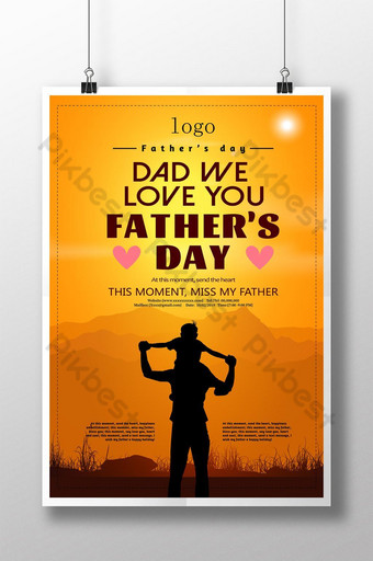 cartel del día del padre de la silueta del sol Modelo PSD