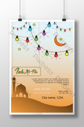 ملصق عيد الفطر مع مصباح ملون قالب AI