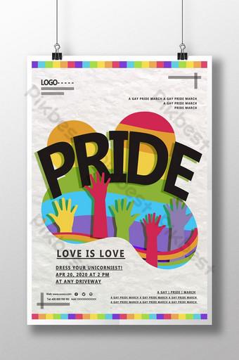 ملون اليد قوس قزح مثلي الجنس اليوم ملصق قالب PSD