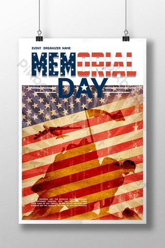 cartel del día conmemorativo del soldado de la silueta de la bandera Modelo PSD