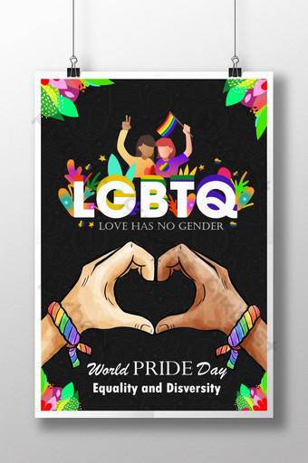 LGBT Pride Day Beautiful Hand Paint Poster Template AI
