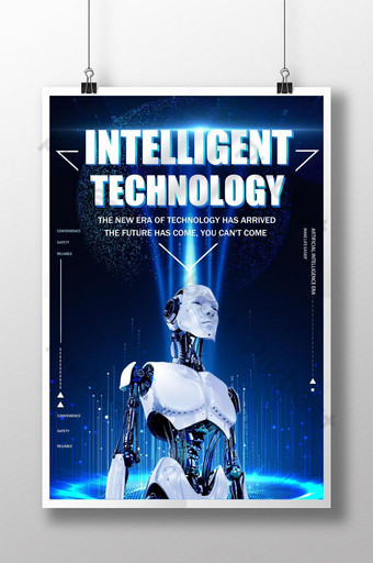pôster de tecnologia de inteligência artificial de robô azul Modelo PSD
