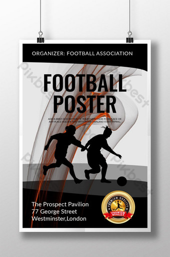cartel de deporte de logo redondo de curva negra de fútbol Modelo AI