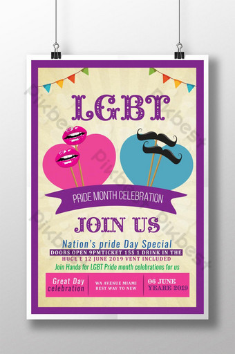 Happy LGBT Pride Celebration Month Poster Template PSD