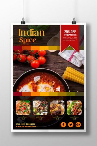 الهندي التوابل مطعم الغذاء ملصق قالب PSD
