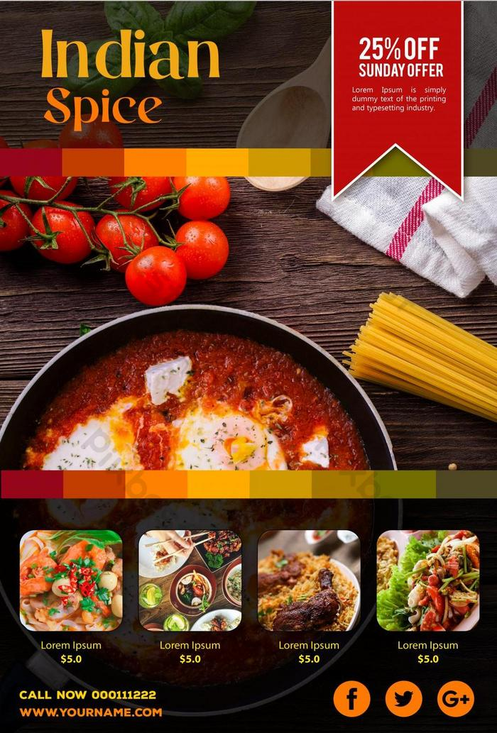 Indian Spice Restaurant Food Poster Psd Free Download Pikbest