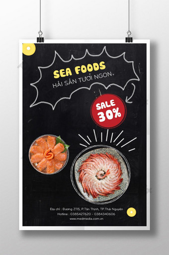 Seafood cuisine poster discount 30 Template PSD