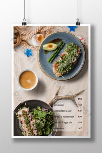 beautiful high end western restaurant seafoods menu Template PSD