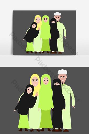 صورة الكرتون الأسرة المسلمة الملابس الإسلامية صور PNG قالب AI