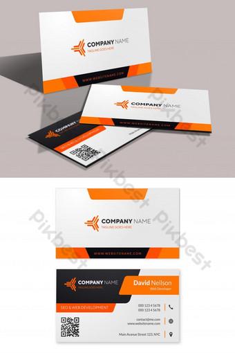 Templat kartu bisnis modern dengan bentuk oranye dan hitam Templat AI