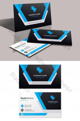 modern corporate business card with black and blue shapes Template AI