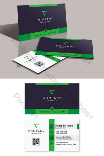modern visiting card template with black and green shapes Template AI