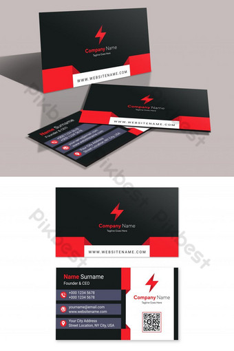 Red and black shapes business card template vector Template AI