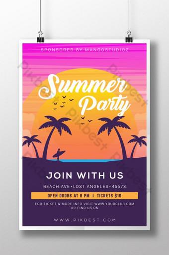 cartel de silueta de club de playa de fiesta de verano creativo y moderno Modelo AI