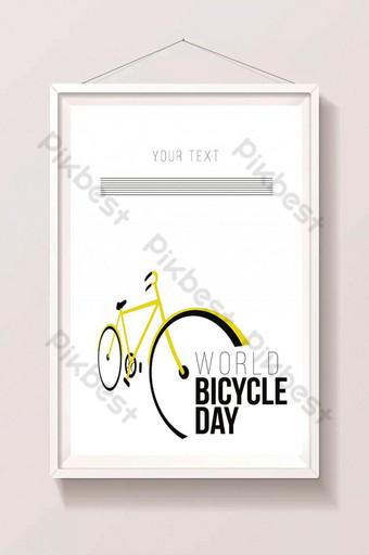 世界自行車日黃色自行車圖 插畫 模板 AI