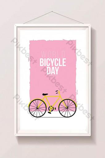 世界自行車日粉紅色背景圖像 插畫 模板 AI