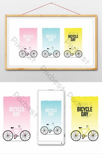世界自行車日圖 插畫 模板 AI