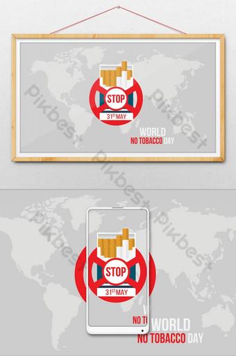 Illustration du concept non fumeur et carte du monde de la journée mondiale sans tabac Illustration Modèle AI