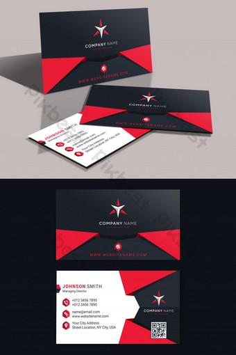 Plantilla de tarjeta de visita moderna abstracta con formas rojas y negras. Modelo AI