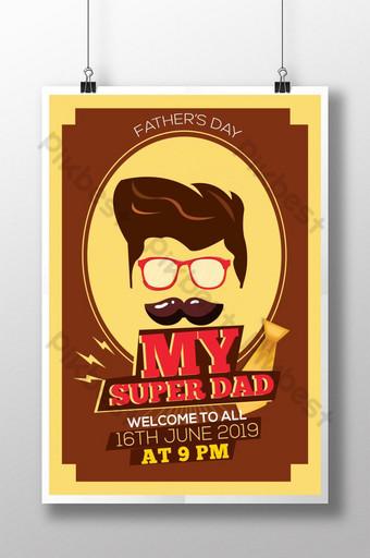 Modèle d'Affiche de la fête des pères de mon super papa Modèle PSD