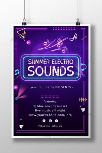 diseño de cartel de festival de música fluorescente púrpura Modelo PSD