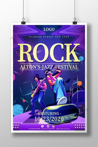 plantilla de cartel de venta de evento de tema de fiesta de música rock azul Modelo PSD