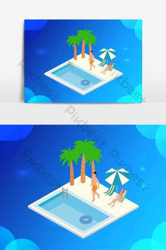 изометрические векторные иллюстрации отдыха в бассейне Графические элементы шаблон AI