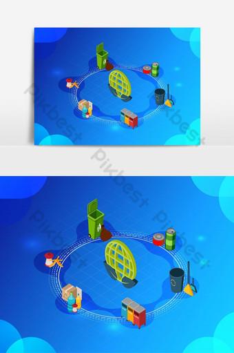 изометрические векторные иллюстрации зеленой окружающей среды Графические элементы шаблон AI