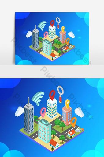vector isométrico de construcción de ciudad inteligente Elementos graficos Modelo AI