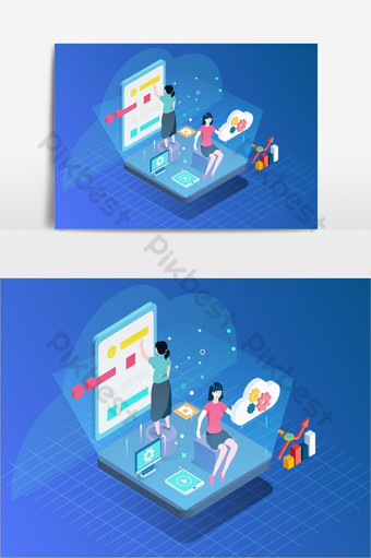 lady on business work place illustration page PNG Images Template AI