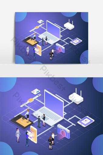 ilustração em vetor negócios ciência tecnologia Elementos gráficos Modelo AI