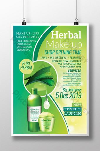 Affiches de produits cosmétiques à base de plantes à l'aloe vera Modèle PSD