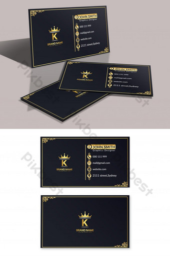 Modèle de carte de visite doré Modèle AI