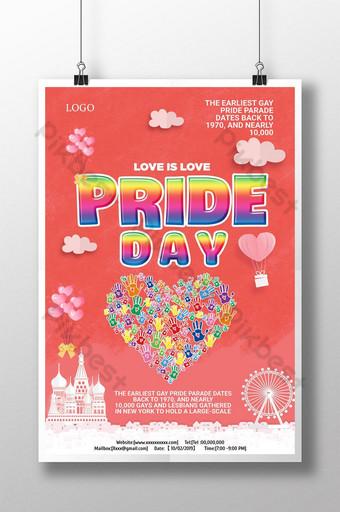 الكرتون الملونة مرسومة باليد ملصق مثلي الجنس قالب PSD