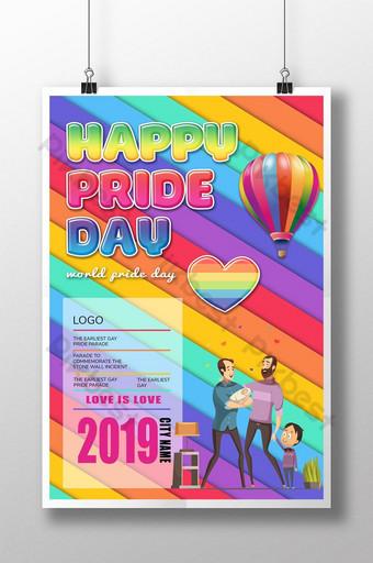 الملونة الكرتون قوس قزح ملصق مثلي الجنس قالب PSD