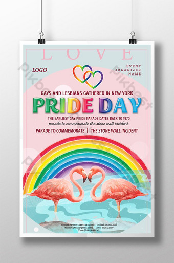 قوس قزح مرسومة باليد ملصق مثلي الجنس الملونة قالب PSD