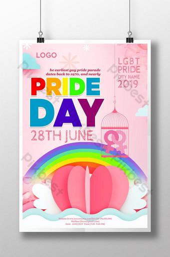 قوس قزح الحد الأدنى ملصق مثلي الجنس الطازجة قالب PSD