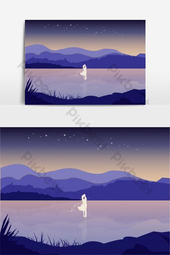 ilustración de paisaje de silueta de pareja besándose estética Modelo AI